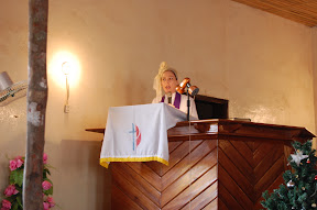 Rev. Ginger preaching at St. Matthew's Logantown