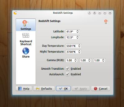 RedShift in KDE