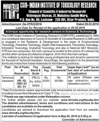 CSIR IITR Technical Assistant Jobs 2016