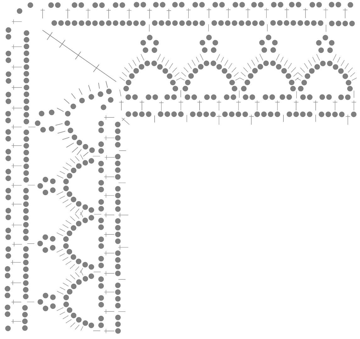 Прямоугольная салфетка. Схема обвязывания края.