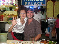 Ted and Beehive Lady - Hawker Stall dining - Sinapore