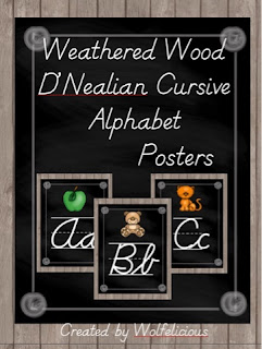 Photo of Weathered Wood D'Nealian Cursive  Alphabet Posters Wolfelicious