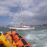 22 May 2011 – ILB going astern to pull on tow rope attached to yacht's halyard while ALB towing (to left of picture)
