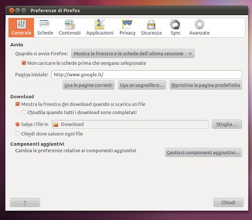 Firefox - preferenze