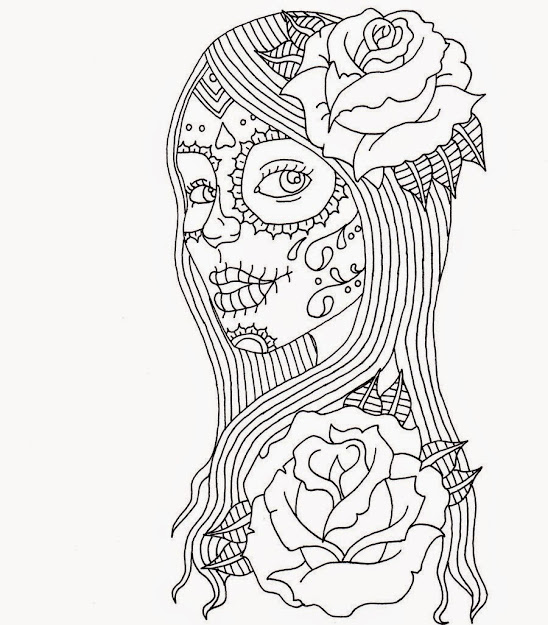 Sugar Skull Coloring Page  Printable Coloring Pages  Doodle Art   Pinterest  Coloring Free Printable Coloring Pages And Change