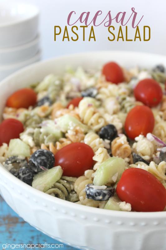 Caesar Pasta Salad Recipe at GingerSnapCrafts.com #recipe #pasta #salad