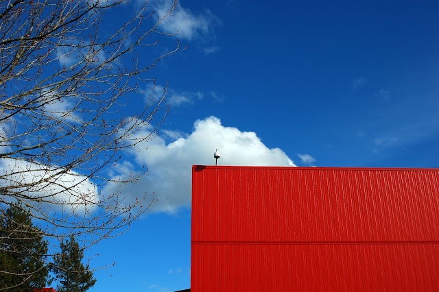Red wall on Physio-Control campus, Redmond, WA