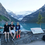hiking team after a 10 hour hike at Lake Louise, Alberta, Canada in Lake Louise, Alberta, Canada
