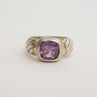 Sterling Silver and 18K Gold & Amethyst Ring