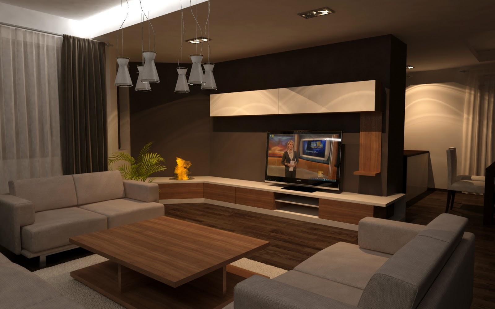 Living room mobilierul are integrat un semineu cu bio etanol
