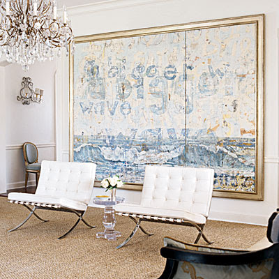 I Love The Sleek White Barcelona Chairs Contrasted With The Natural Rough  Textured Flooring. A Grand Piece Of Contemporary Artwork Makes The Perfect  ...