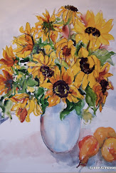 Sunflowers with Peaches and a Pear.jpg