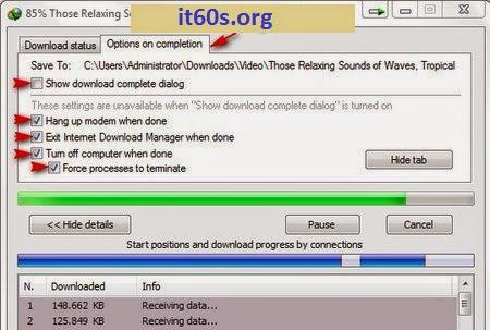 Cách cấu hình IDM khi tải file xong sẽ tự động tắt máy 3