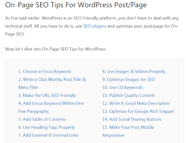 On page SEO for WordPress