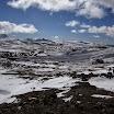 Hiking trip from Landmannalaugar. Glacier in the horizon. VK