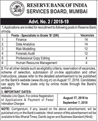 RBI Specialists Grade B Notice 2018 www.indgovtjobs.in