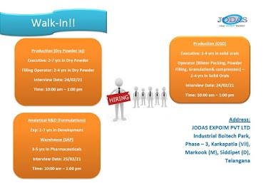 Walk-In For Analytical Research, Production-OSD, Warehouse At Jodas Expoim