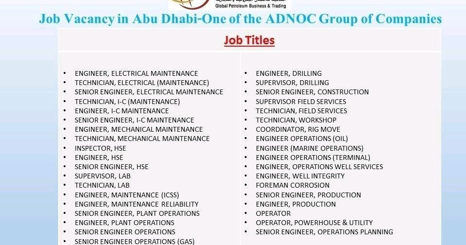 Oil and Gas Jobs: ADNOC Group of Companies Requirements