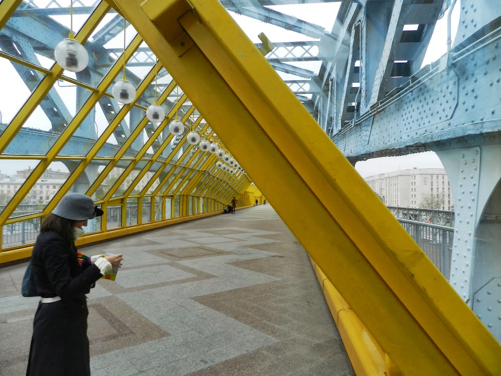 A new, triangular pedestrian tunnel has been built within the old steel bridge....