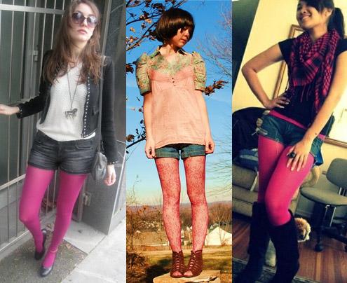 como usar meia-calça cor de rosa com shorts jeans