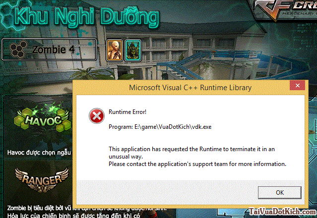 Sửa lỗi Runtime error khi chơi vua đột kích