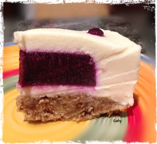 british cheesecake con cuore di uva fragola fetta