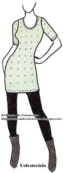 Boceto de vestido mini ajustado para tela de tejido de punto, escote en U y manga corta o tres cuartos