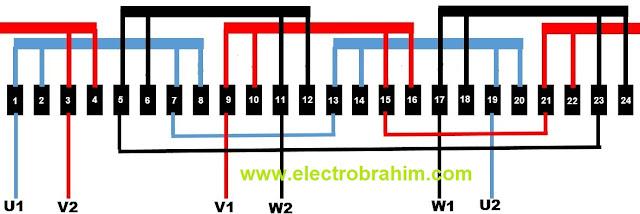 Schema du rebobinage moteur 4 pole 24 encoches Pas 1-7
