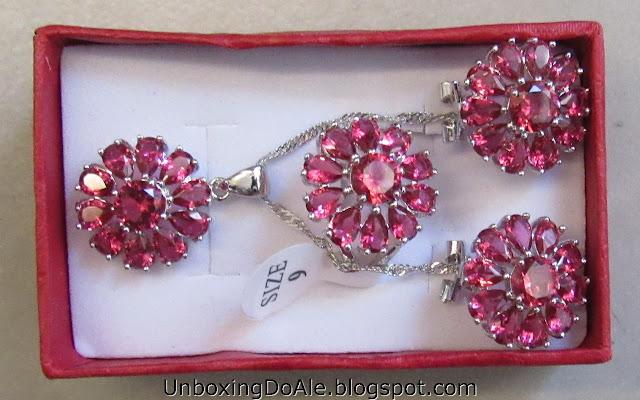 Conjunto de prata brinco colar e anel