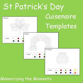 St. Patrick's Day Themed math templates for using Cuisenaire Rods