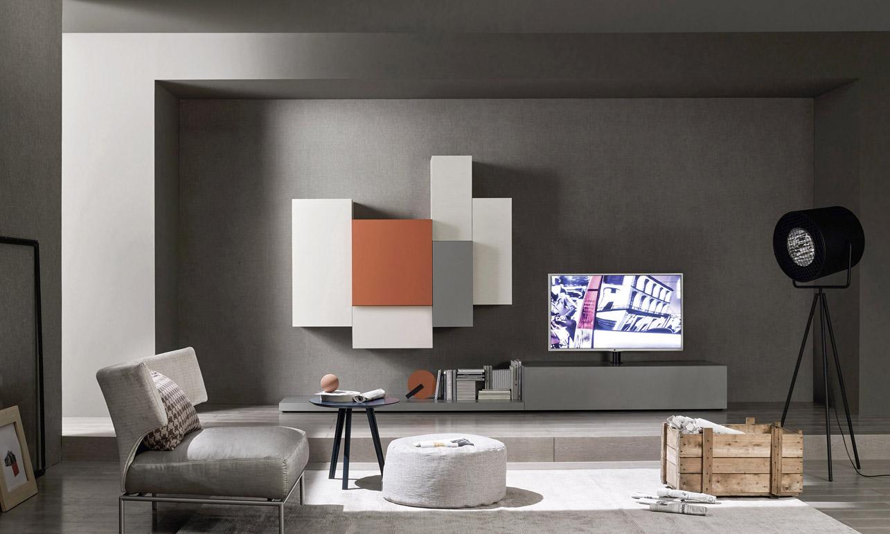 mobili da soggiorno moderni, modello Lampo laccato grigio, arancio ...