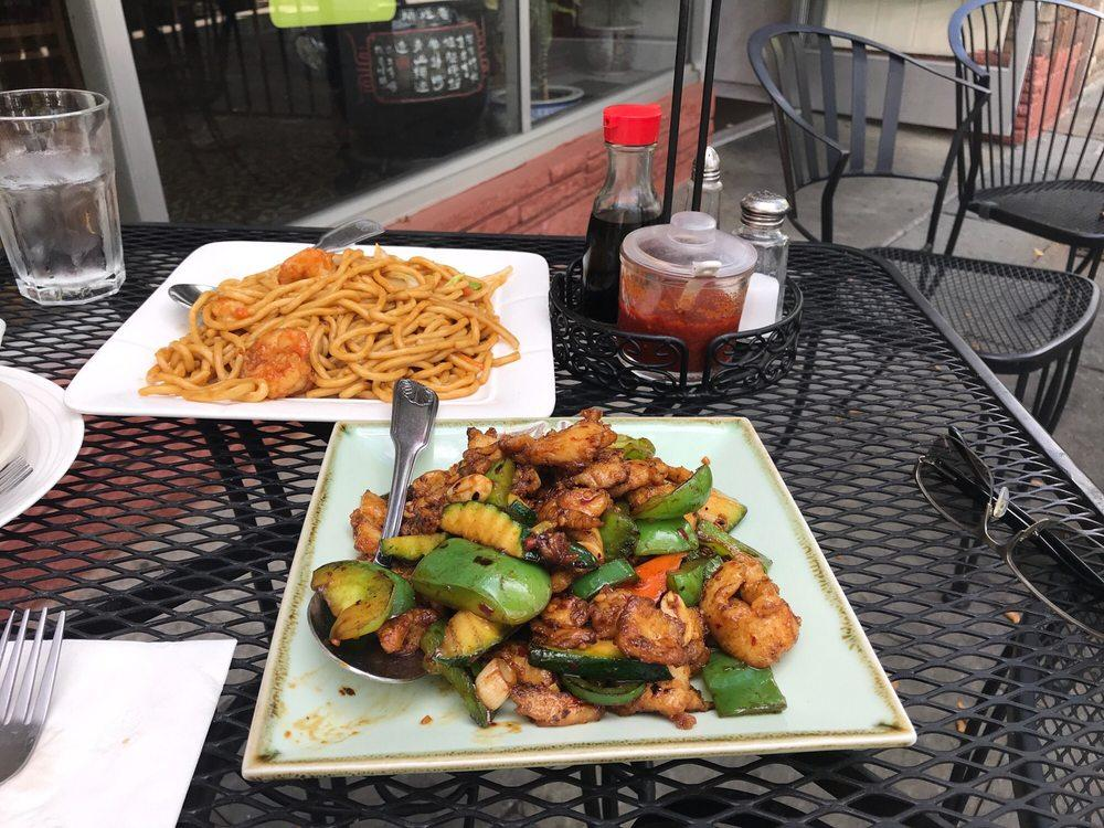 Photo of Lo's China Bistro - Livermore, CA, United States. Kung Pao chicken and shrimp chow mien. Incredibly fresh