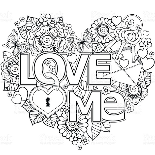 Vector Coloring Page For Adultheart Made Of Abstract Flowers Butterflies  Birds Kissing