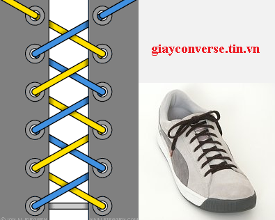 Cách buộc dây giày Converse kiểu chéo nhanh gọn tiện