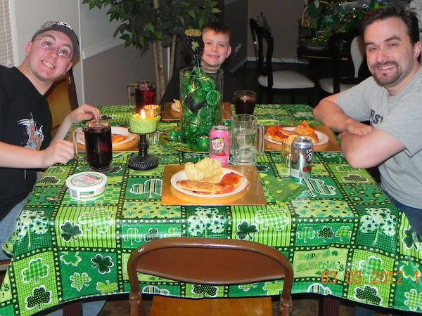 Ready to eat with Uncle Tony, your brother Rhyan and Aunt Kim.