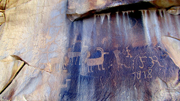 Great bighorn sheep petroglyphs and historic inscription