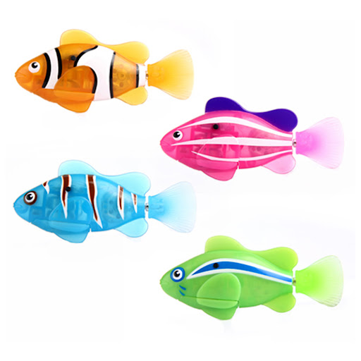 Set of 4 clownfish robo fish by zuru water activated for Zuru robo fish