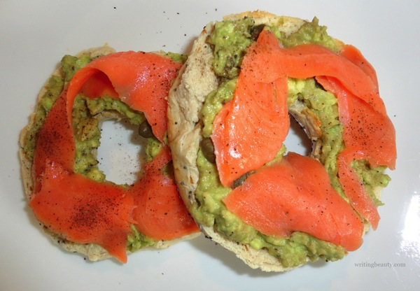 Bagel and lox smoked salmon and avocado 3