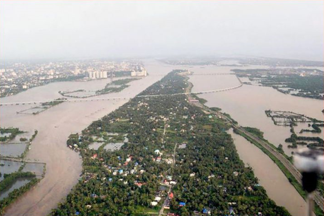 An aerial view of flooding in Aluva, India after heavy monsoon rains, in Kerala on Friday, 10 August 2018. Photo: India TV News