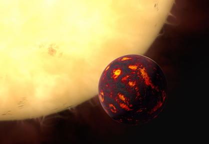 ilustração da Super-Terra 55 Cancri e em frente de sua estrela hospedeira