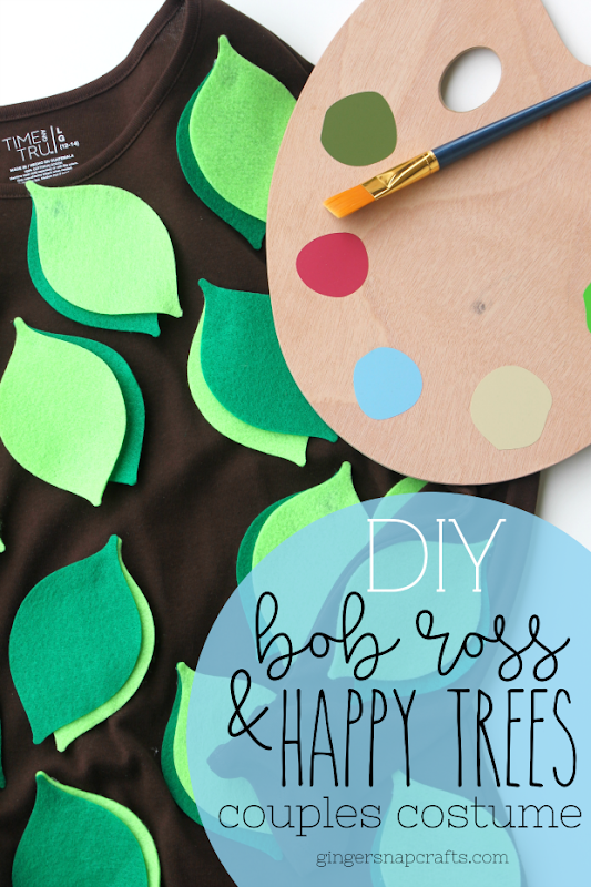 DIY Bob Ross and Happy Trees Couples Costume at GingerSnapCrafts.com #halloween #costume #cricut #cricutmade