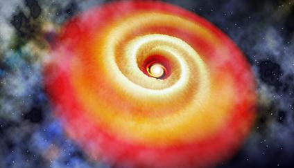 ilustração da estrutura espiral no disco em torno de estrela