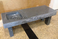 Coffee Table Top, Rock-Face with Basin, Charcoal Grey