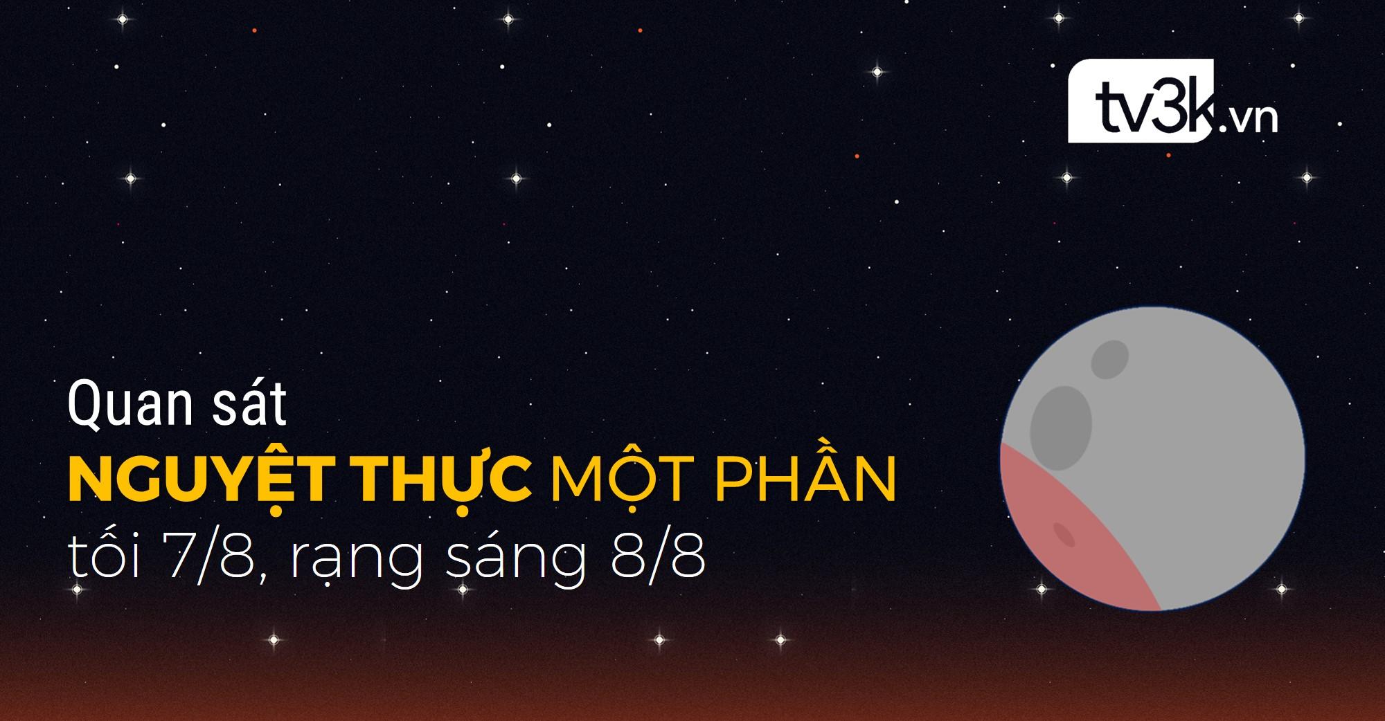Đón quan sát Nguyệt thực một phần ở Việt Nam vào tối 7/8, rạng sáng 8/8 tới.