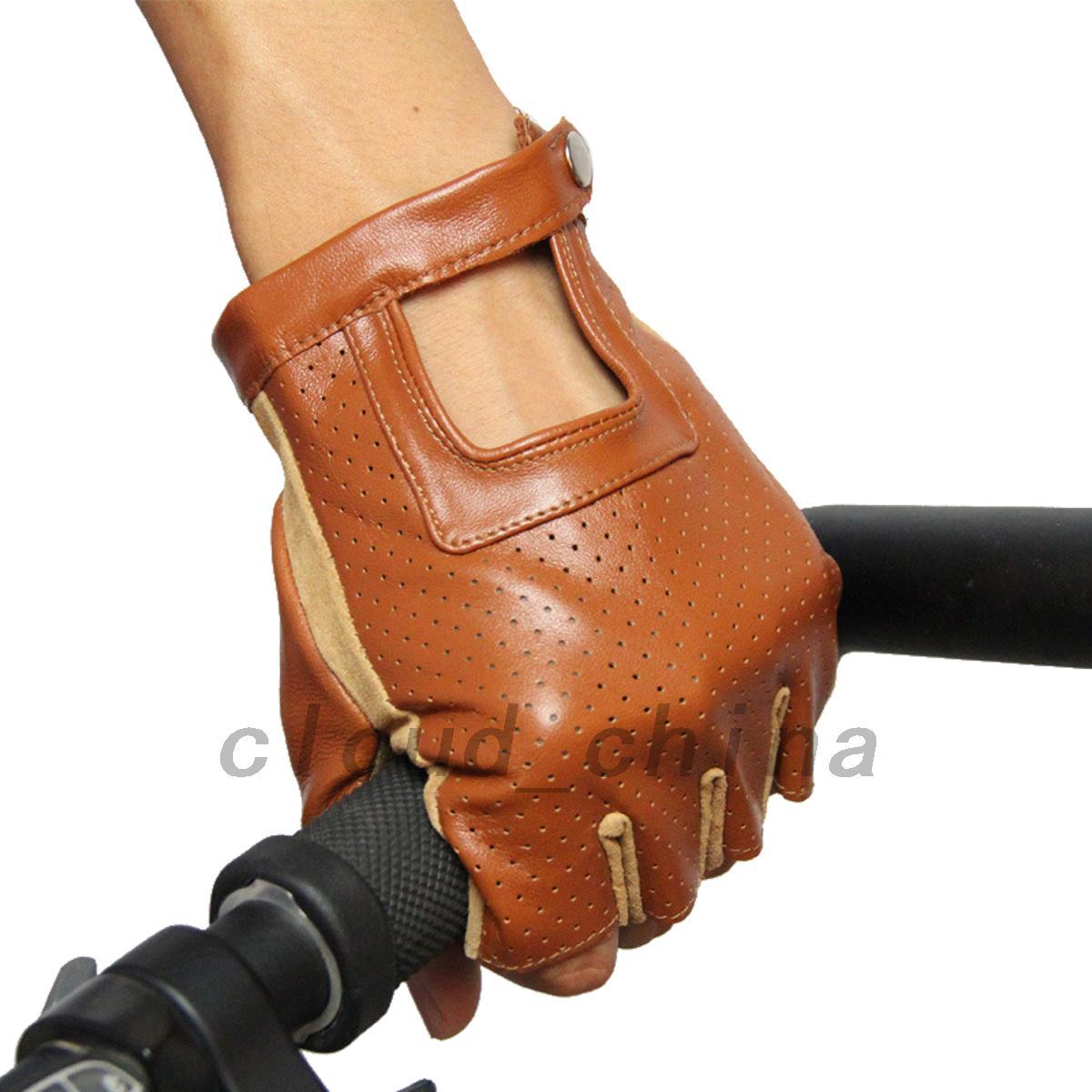 Fingerless driving gloves ebay - Genuine Leather Sheepskin Fingerless Cycling Driving Gloves Motorcycle