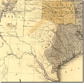 德克萨斯细节从弗朗西斯A.沃克的'S 1870美国人口密度图。