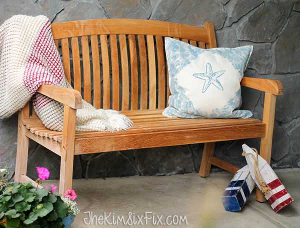 Nautical bench with starfish pillow