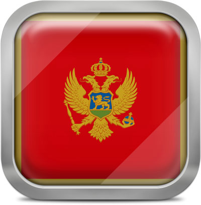 Montenegro square flag with metallic frame