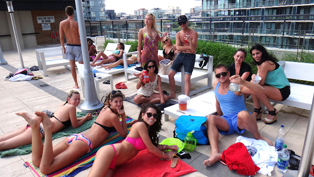 attending a rooftop pool party in Toronto, Canada in Toronto, Ontario, Canada