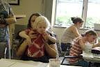 Parents and children in art class